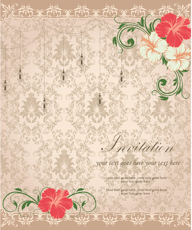 brownish: Vintage invitation card with ornate elegant retro abstract floral design, red and pale yellow flowers and green leaves on brownish gray background with lanterns borders and text label. Vector illustration.