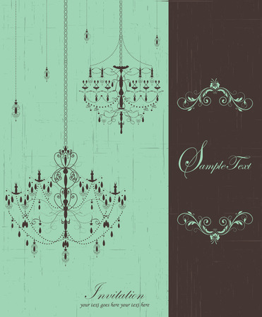 Vintage invitation card with ornate elegant retro abstract floral design, lanterns and chandeliers on scratch textured laurel green and brown split background with text label. Vector illustration. 일러스트