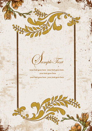 brownish: Vintage invitation card with ornate elegant retro abstract floral design, yellow orange and brownish yellow flowers and leaves on scratch textured background with text label. Vector illustration. Illustration