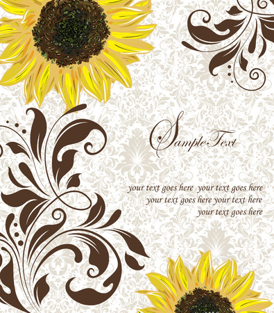 Vintage invitation card with ornate elegant retro abstract floral design, yellow orange and brown flowers and leaves on light gray background with text label. Vector illustration. Иллюстрация