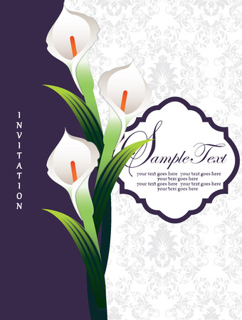 Vintage invitation card with ornate elegant retro abstract floral design, white flowers and green leaves on dark violet and white background with plaque text label. Vector illustration.