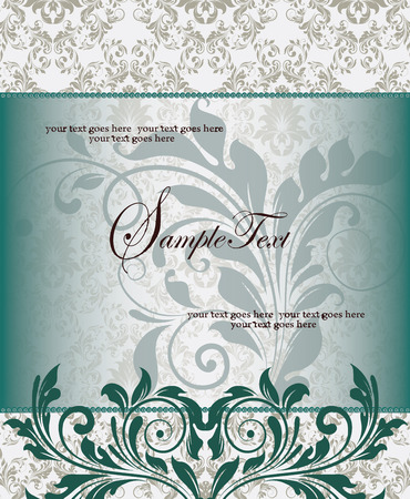 Vintage invitation card with ornate elegant retro abstract floral design, dark green and faded dark green flowers and leaves on gray background with frame border and text label. Vector illustration.