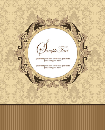 Vintage invitation card with ornate elegant retro abstract floral design, light brown and chocolate brown flowers and leaves on pale yellow and gray background with stripes and round text label. Vector illustration.