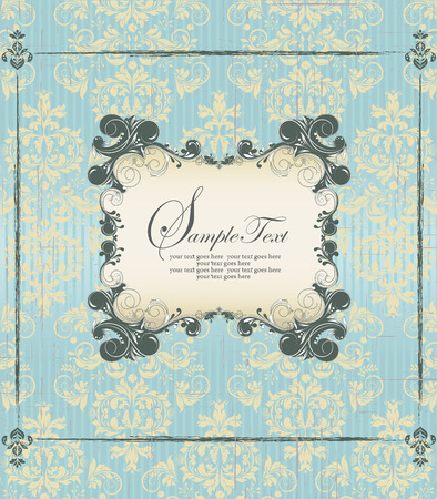 scratch card: Vintage invitation card with ornate elegant retro abstract floral design, dark green and pale yellow flowers and leaves on scratch textured light blue background with frame border and plaque text label. Vector illustration. Illustration