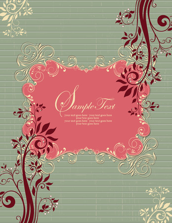 scratch card: Vintage invitation card with ornate elegant retro abstract floral design, dark pink dark red and pale yellow flowers and leaves on scratch textured laurel green background with stripes and plaque text label. Vector illustration. Illustration