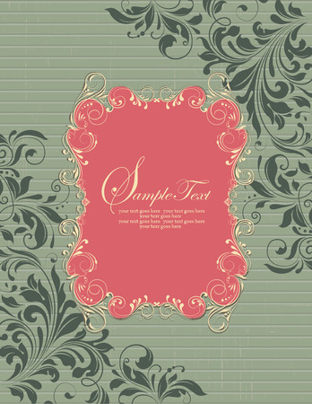 dark forest: Vintage invitation card with ornate elegant retro abstract floral design, yellow and dark forest green flowers and leaves on coral pink and laurel green background with stripes and frame text label. Vector illustration. Illustration
