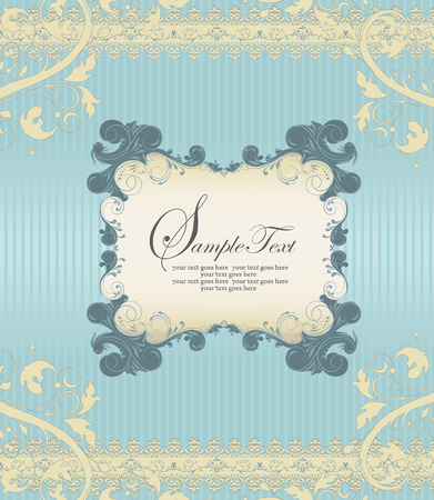 pale yellow: Vintage invitation card with ornate elegant retro abstract floral design, dark teal and pale yellow flowers and leaves on light blue background with frame text label. Vector illustration. Illustration