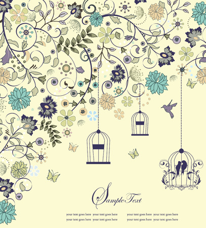 Vintage invitation card with ornate elegant retro abstract floral design, multi-colored flowers and leaves on pale yellow green background with birds butterflies and text label. Vector illustration. Ilustracja