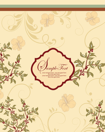 Vintage invitation card with ornate elegant retro abstract floral design, pale olive green and pale yellow orange flowers and leaves on pale yellow background with stripes and plaque text label. Vector illustration.