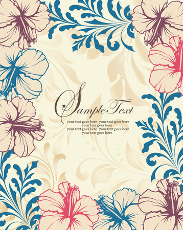 magenta flowers: Vintage invitation card with ornate elegant retro abstract floral design, pink dark blue and dark magenta flowers and leaves on beige and pale yellow background with text label. Vector illustration.