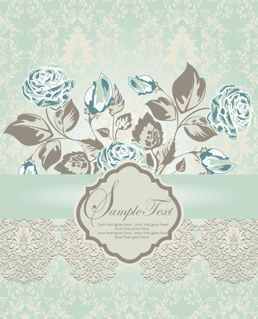 blue plaque: Vintage invitation card with ornate elegant retro abstract floral design, light green and teal blue flowers and gray leaves on pale green and beige background with ribbon and plaque text label. Vector illustration.