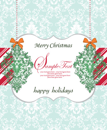 Vintage Christmas card with ornate elegant retro abstract floral design, green flowers and leaves on pale green and white background with striped red ribbon and plaque text label. Vector illustration.