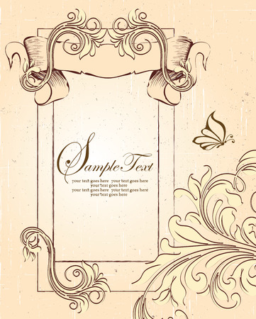 sash: Vintage invitation card with ornate elegant retro abstract floral design, dark brown and beige flowers and leaves on scratch textured beige background with sash banner frame borders butterfly and text label. Vector illustration.
