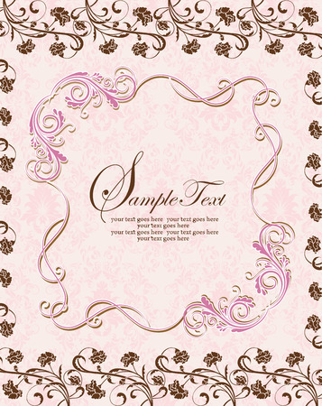 Vintage invitation card with ornate elegant retro abstract floral design, pink and chocolate brown flowers and leaves on pale pink background with frame border text label. Vector illustration.
