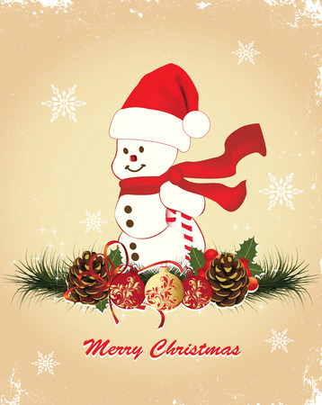 Vintage Christmas card with ornate elegant retro abstract floral design, snowman with red Santa hat and scarf with ball with red and gold flowers and leaves pine cones pine needles ponsettia and snowflakes on scratch textured beige background with text la