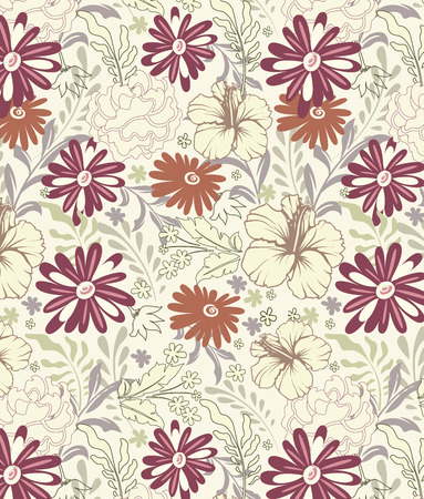 pale yellow: Vintage background with ornate elegant retro abstract floral design, multi-colored flowers and leaves on pale yellow green background. Vector illustration.