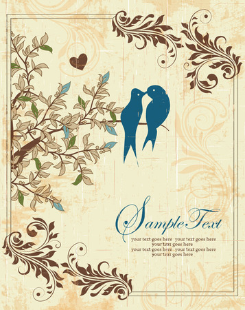 Vintage invitation card with ornate elegant retro abstract floral design, green light blue and brown flowers and leaves on scratch textured beige background with heart birds frame border and text label. Vector illustration.