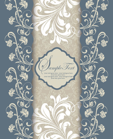 cadet blue: Vintage invitation card with ornate elegant retro abstract floral design, light gray and white flowers and leaves on cadet blue and light gray background with plaque text label. Vector illustration.
