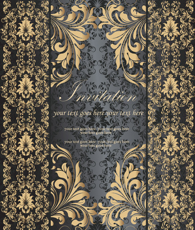 Vintage invitation card with ornate elegant retro abstract floral design, gold flowers and leaves on dark gray and black background with text label. Vector illustration.