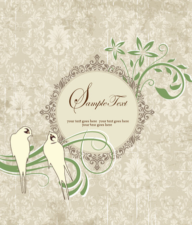 Vintage invitation card with ornate elegant retro abstract floral design, green and gray flowers and leaves on textured pale olive green background with birds and round text label. Vector illustration. Illustration