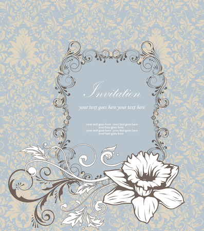 Vintage invitation card with ornate elegant retro abstract floral design, white and gray flowers and leaves on pale yellow and blue background with frame text label. Vector illustration.