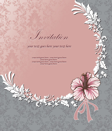 Vintage invitation card with ornate elegant retro abstract floral design, pink and white flowers and leaves in semi-circle arrangement on light pink and gray background with ribbon and text label. Vector illustration.