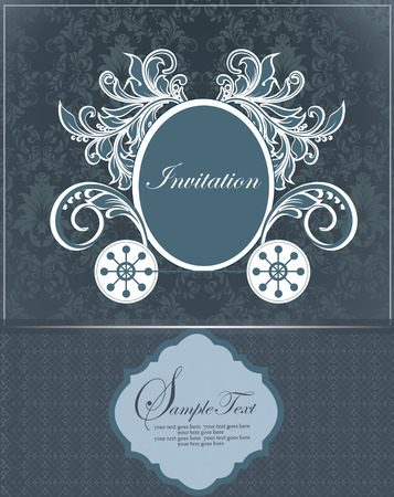 cadet blue: Vintage invitation card with ornate elegant retro abstract floral design, cadet blue flowers and leaves on dark gray and midnight blue background with frame borders and plaque text label. Vector illustration. Illustration