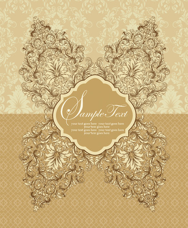 Vintage invitation card with ornate elegant retro abstract floral design, brown flowers and leaves on light brown and beige background with plaque text label. Vector illustration.