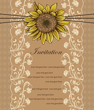 Vintage invitation card with ornate elegant retro abstract floral design, yellow sunflower and beige flowers and leaves on light brown background with mesh borders and text label. Vector illustration. Illusztráció
