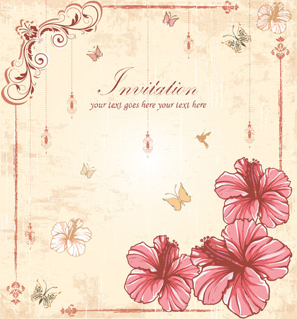 scratch card: Vintage invitation card with ornate elegant retro abstract floral design, pink flowers and leaves on scratch textured beige background with lanterns butterflies and text label. Vector illustration.