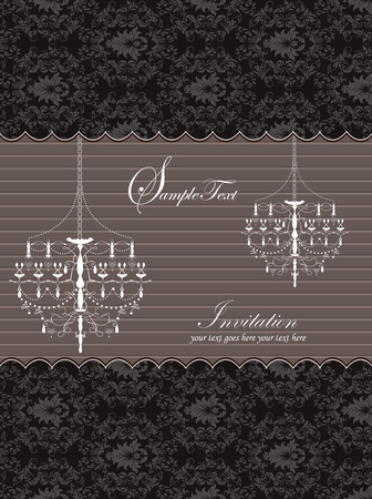 Vintage invitation card with ornate elegant retro abstract floral design, dark gray flowers and leaves on black background with chandeliers stripes and text label. Vector illustration. 일러스트