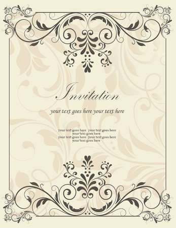 Vintage invitation card with ornate elegant retro abstract floral design, dark gray flowers and leaves on light gray background with frame borders and text label. Vector illustration.
