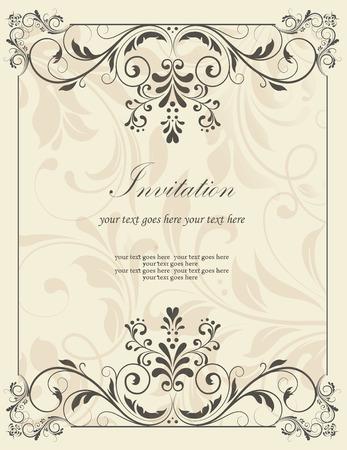 Vintage-Einladung mit kunstvollen eleganten Retro-abstrakten Blumenmuster, dunkelgrau Blumen und Blättern auf hellgrauem Hintergrund mit Frame-Rahmen und Beschriftung. Vektor-Illustration.