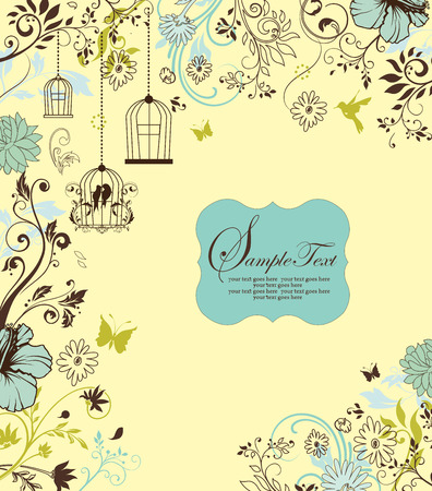 garden party: Vintage invitation card with ornate elegant retro abstract floral design, multi-colored flowers and leaves on light yellow background with birds butterflies and plaque text label. Vector illustration.