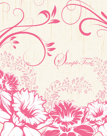 scratch card: Vintage invitation card with ornate elegant retro abstract floral design, pink flowers and leaves on scratch textured beige background with text label. Vector illustration.