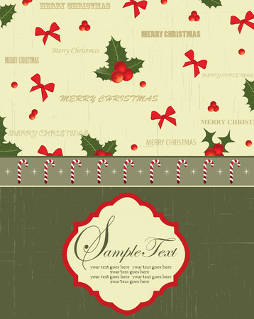 christmas motif: Vintage Christmas card with ornate elegant retro abstract floral design, red ribbons and red and green ponsettia flowers and leaves on scratch textured pale yellow green and dark olive green background with candy cane ribbon and plaque text label. Vector