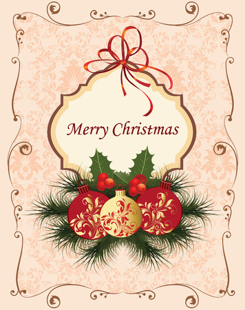 gold plaque: Vintage Christmas card with ornate elegant retro abstract floral design, balls with red and gold flowers and leaves on pale pink and beige background with ribbon ponsettia frame borders and plaque text label. Vector illustration. Illustration