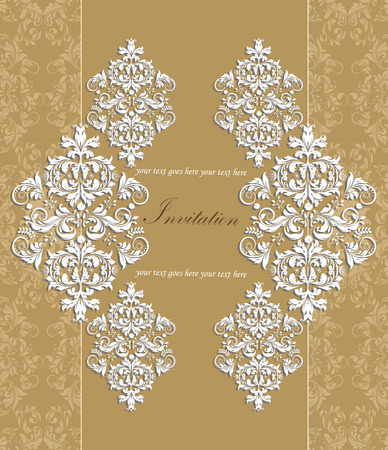 Vintage invitation card with ornate elegant retro abstract floral design, white flowers and leaves on light brown background with text label. Vector illustration.