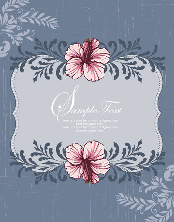 scratch card: Vintage invitation card with ornate elegant retro abstract floral design, pink gray and dark blue flowers and leaves on scratch textured bluish gray background with plaque text label. Vector illustration. Illustration