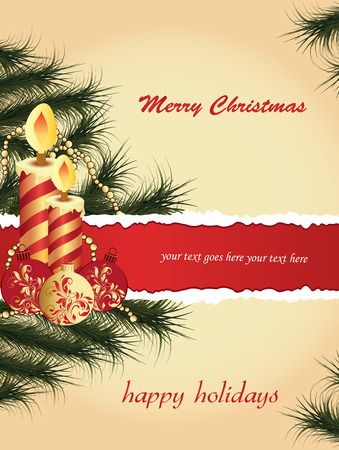 pine needles: Vintage Christmas card with ornate elegant retro abstract floral design, striped candles with balls with red and gold flowers and leaves on beige background with green pine needles bead chain and ribbon text label. Vector illustration. Illustration
