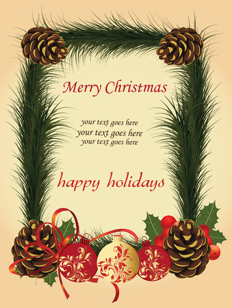 pine needles: Vintage Christmas card with ornate elegant retro abstract floral design, balls with red and gold flowers and leaves on beige background with brown pine cones and green pine needles red ribbon and text label. Vector illustration. Illustration