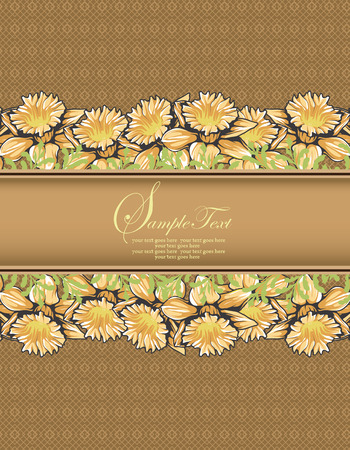 Vintage invitation card with ornate elegant retro abstract floral design, yellow orange flowers and leaves on light brown background with ribbon text label. Vector illustration.
