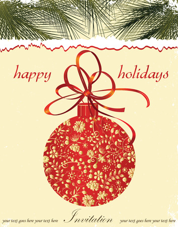 pine needles: Vintage Christmas card with ornate elegant retro abstract floral design, ball with red and gold flowers and leaves on light yellow background with ribbon pine needles and text label. Vector illustration. Illustration