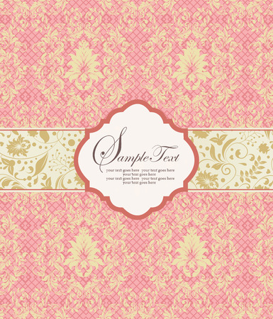 mesh: Vintage invitation card with ornate elegant retro abstract floral design, gold flowers and leaves on light coral pink mesh background with plaque text label. Vector illustration. Illustration
