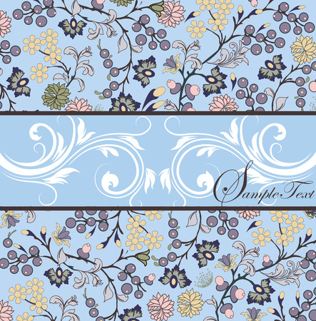 Vintage invitation card with ornate elegant retro abstract floral design, multi-colored flowers and leaves on light blue background with ribbon text label. Vector illustration.