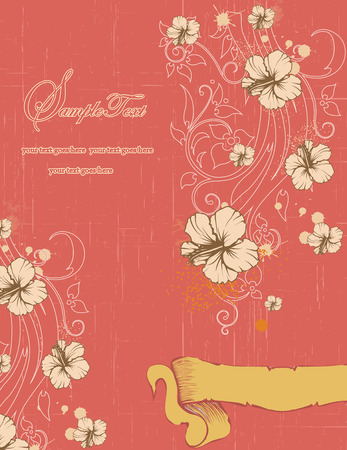sash: Vintage invitation card with ornate elegant retro abstract floral design, light brownish gray flowers and leaves on coral pink background with yellow sash and text label. Vector illustration.