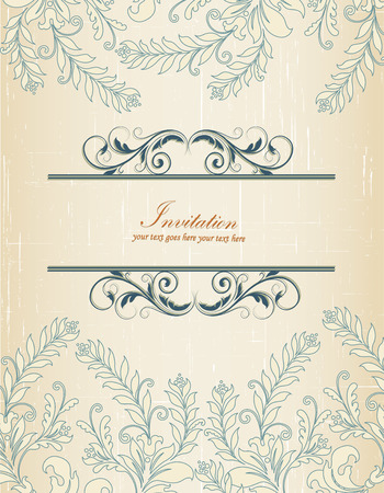 scratch card: Vintage invitation card with ornate elegant retro abstract floral design, dark blue and beige flowers and leaves on scratch textured beige background with text label. Vector illustration.