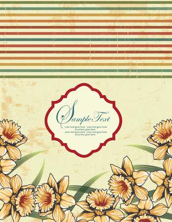 scratch card: Vintage invitation card with ornate elegant retro abstract floral design, yellow orange flowers and green leaves on scratch textured light yellow green background with multi-colored stripes and plaque text label. Vector illustration.