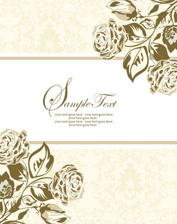 Vintage Christmas card with ornate elegant retro abstract floral design, gold rose flowers and leaves on pale yellow green background with box text label. Vector illustration. Illustration