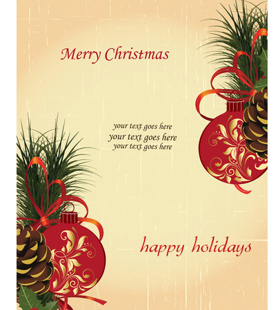 scratch card: Vintage Christmas card with ornate elegant retro abstract floral design, balls with red and gold flowers and leaves pine cones pine needles ribbon and ponsettia on scratch textured beige background with text label. Vector illustration.
